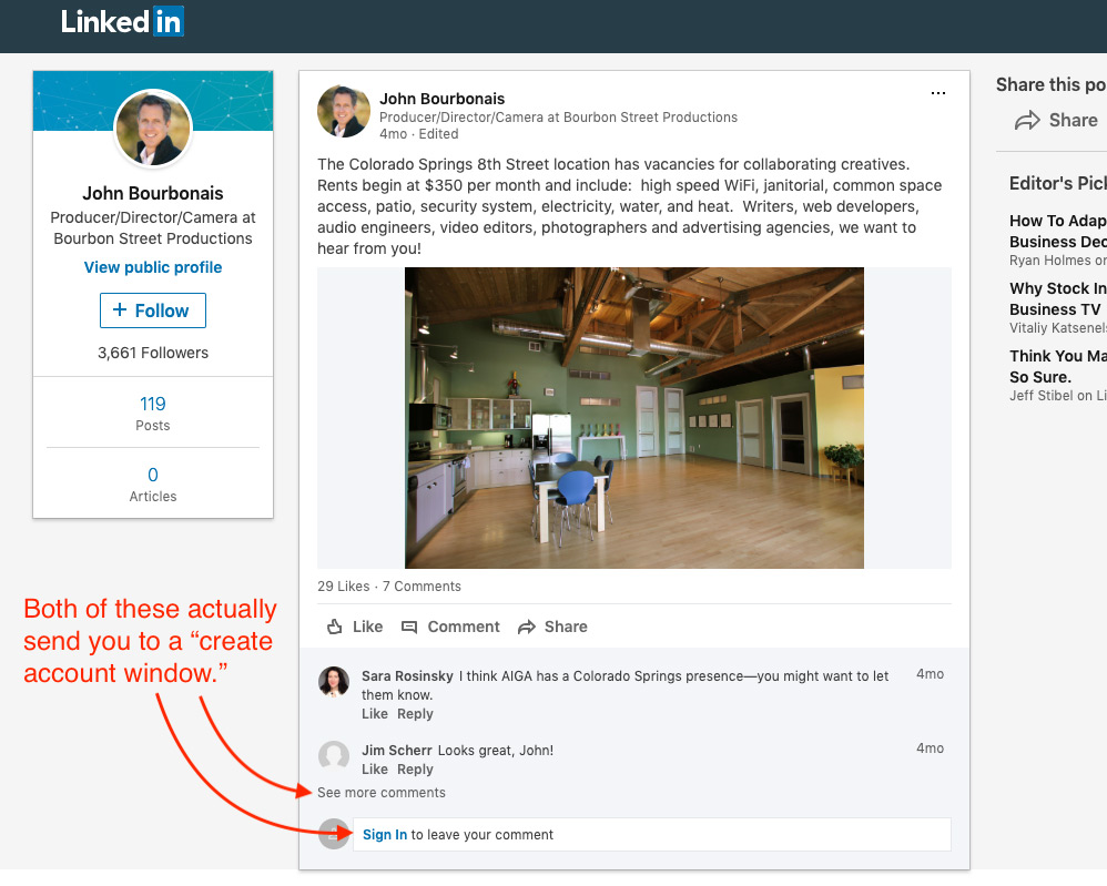 Screen shot of an update posted to on LinkedIn with a picture of empty office space and explaining that there is room for rent