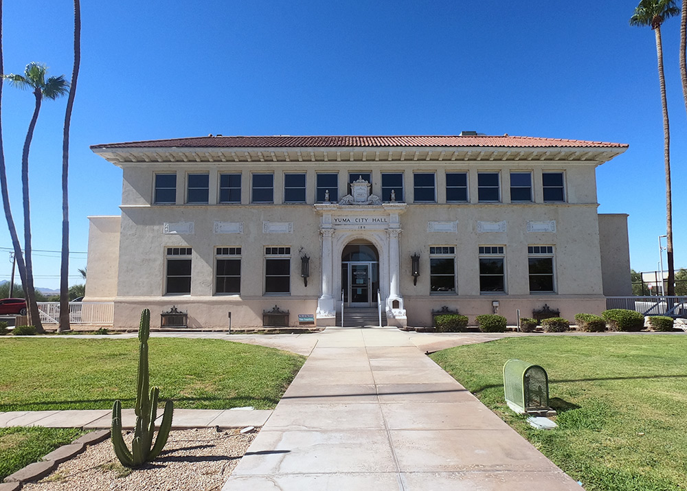 Front view of the Yuma City Hall in Yuma, AZ